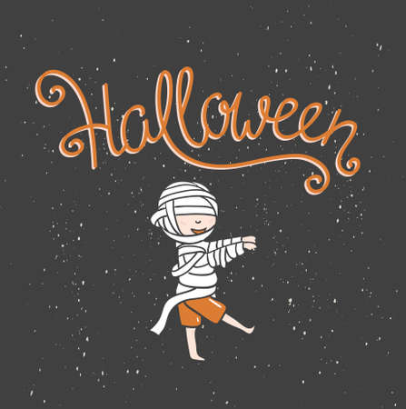 Hand drawn Halloween lettering with zombie boy. Child in costume with pumpkin vector illustration for greeting card, poster or print design.