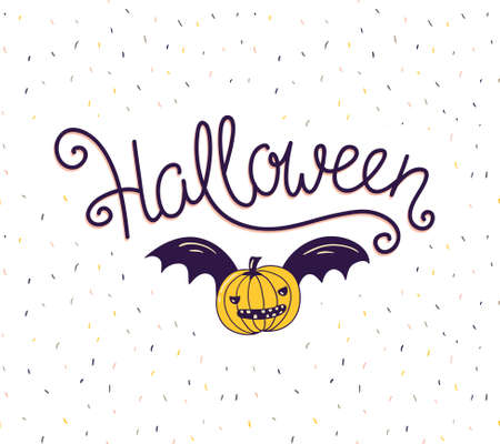 Halloween lettering greeting card vector holiday poster. Hand drawn stylish illustration with text and pumpkin with wings on the confetti background.