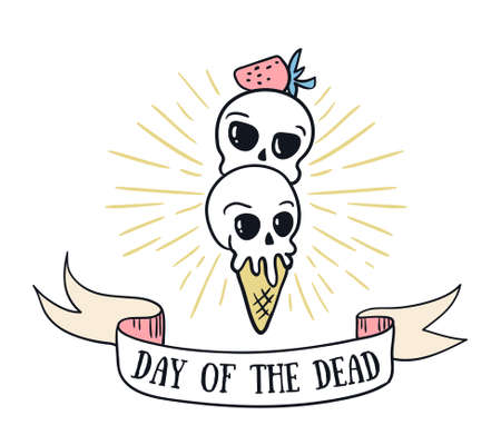 Day of the dead lettering greeting card vector holiday background. Hand drawn stylish illustration with text and sweet skulls.