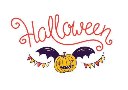 Halloween lettering greeting card. Vector holiday poster. Hand drawn stylish illustration with text and pumpkin with wings on the confetti background. Ilustracja