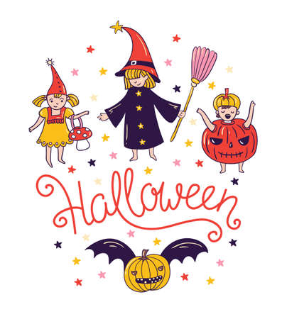 Children in costumes. Greeting halloween card with lettering - 'Halloween' and witch and pumpkin. Trick o treat background. Vector illustration.
