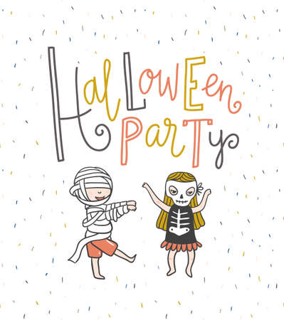 Halloween party lettering greeting card. Vector holiday background. Hand drawn stylish illustration with text and children in costumes. Zombie and skeleton.