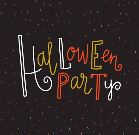 Halloween lettering greeting card -  Halloween party. Vector holiday background. Hand drawn stylish illustration with bright text. Ilustração