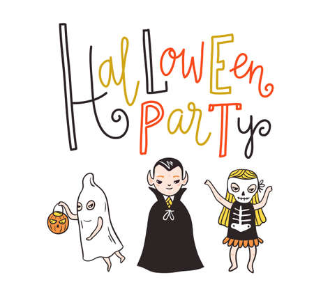 Halloween party lettering greeting card. Vector holiday background. Hand drawn stylish illustration with text and children in costumes.