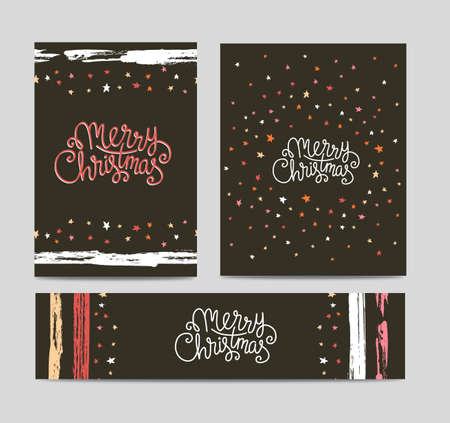 Merry Christmas lettering on dark background with stars. Set of season vector greeting posters template. Handwritten text.