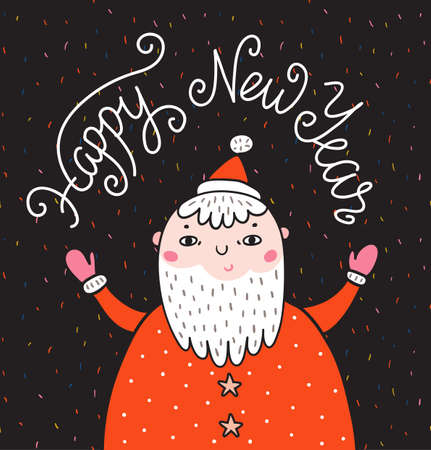 Merry Christmas greeting card on dark background with Santa Claus and stylish lettering - Happy New Year. Season vector holiday poster template. Handwritten text.