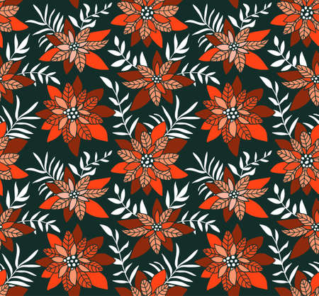 Seamless Christmas background with poinsettias. Vector illustration. Floral fabric design. Tropical flowers in hand drawn style.