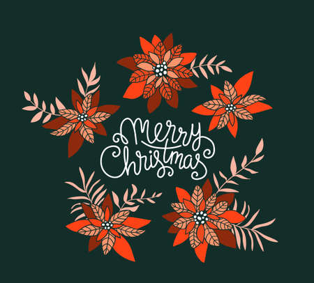 Merry Christmas. Vector Holiday Illustration with Lettering label and poinsettia flowers. Hand drawn greeting card.