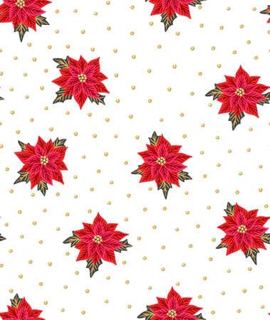 Naadloze Kerst achtergrond met rode kerststerren en gouden kralen. Vector illustratie. Floral stoffen ontwerp.