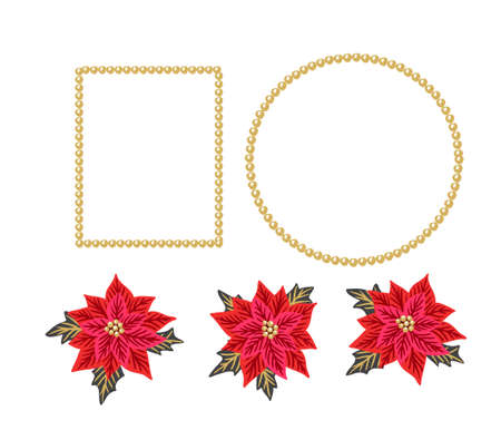Christmas background with red poinsettias and gold beads frames. Vector illustration. Festive design elements. Illustration
