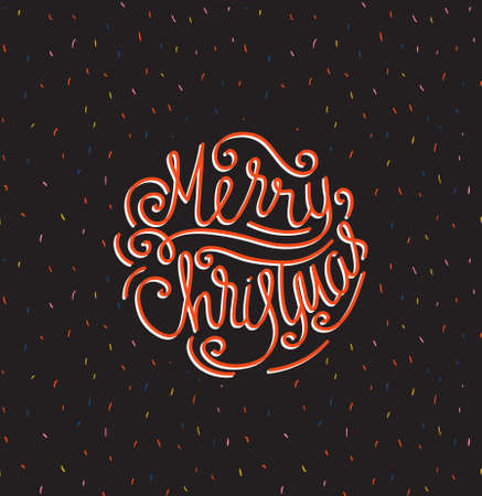Merry Christmas greeting card. Season vector holiday poster  template. Handwritten text