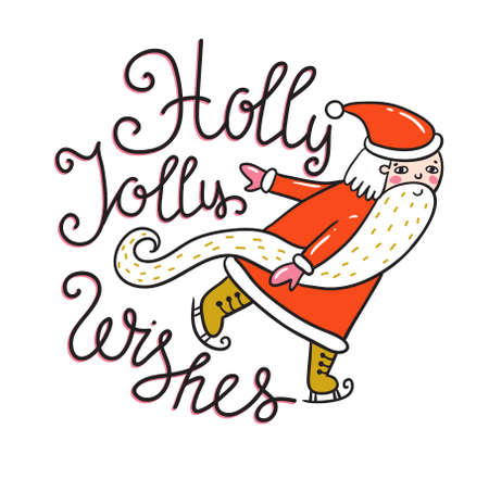 Merry Christmas and New year card with Santa. Vector Holiday Illustration with Lettering label on the confetti background. Hand drawn greeting card with stylish lettering - Holly Jolly wishes.