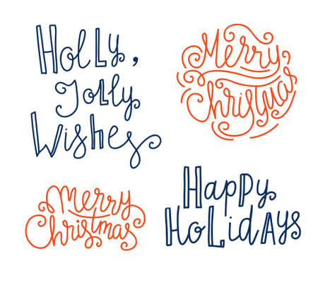 Merry Christmas greeting lettering. Season vector holiday design.Vector Handwritten text.