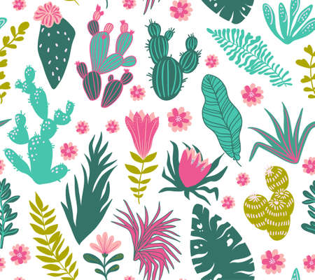 Collection of tropical plants, cactuses, succulents, flowers. Vector seamless pattern for stylish fabric, wrap paper and wallpaper design. Illustration