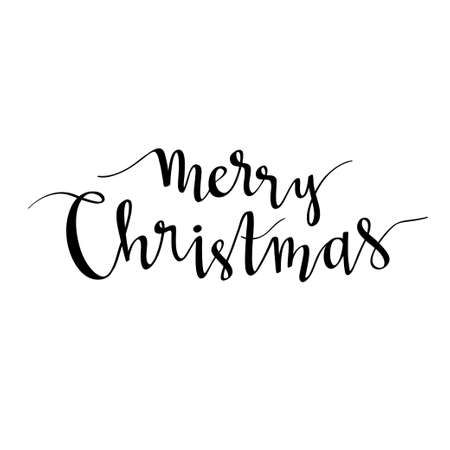 Merry Christmas lettering. Season vector holiday calligraphy design. Handwritten text - Merry Christmas.