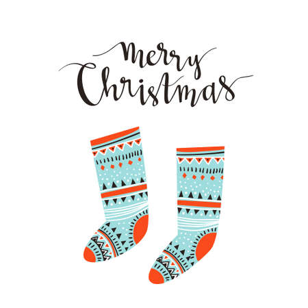 Hand-written Christmas lettering and christmas socks for gifts isolated on white background.  Season vector holiday  design with calligraphy - Merry Christmas. Ilustração