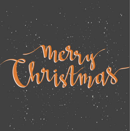 Merry Christmas greeting card on dark background with snow. Season vector holiday poster template. Handwritten text. Ilustração
