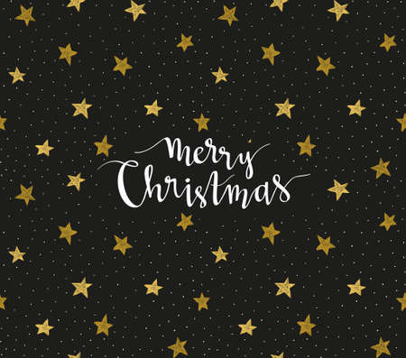 Merry Christmas greeting card. Season vector holiday poster template. Handwritten text  on the black background with night star sky.