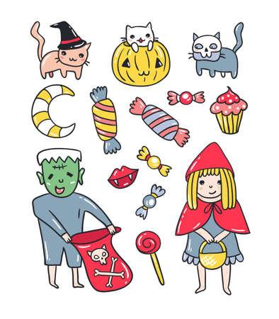 Set of halloween elements. Kids and cats in costumes  isolated on the white background. Vector illustration.