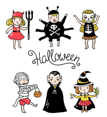 Set of halloween characters. Children in costumes. Vampire, devil, spider,zombie, witch  and skeleton isolated on the white background. Vector illustration.