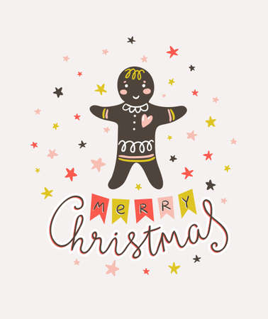 Merry Christmas and New year card. Vector Holiday Illustration with Lettering and traditional gingerbread man  on the confetti background. Hand drawn greeting card with stylish lettering - Merry Christmas.