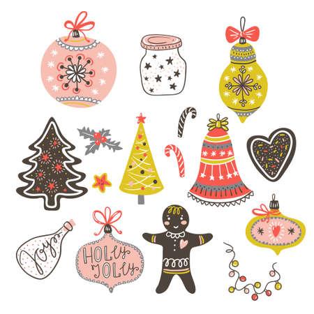 Pelotas de juguete, arco, hombre de jengibre, árbol, corazón y corazón. Ilustración de vector.