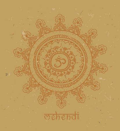 Mandala dessiné à la main avec motif de griffonnage ethnique. Om - illustration vectorielle, isolée sur un fond en carton. Griffonnages zen avec texte - mehendi.