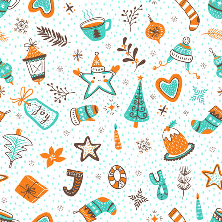 Vector cartoon hand-drawn collection of traditional Christmas set, seamless pattern. New year background.