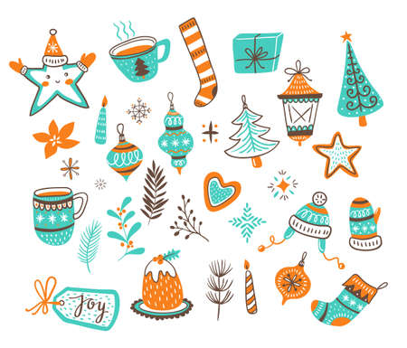 Toy balls, bow, gingerbread, tree, stars and candles. Vector illustration. Imagens - 110667427