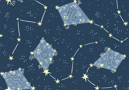 Seamless pattern with kites in the star sky. Vector night astrology fabric design. Bright space background with constellations. Stock Illustratie
