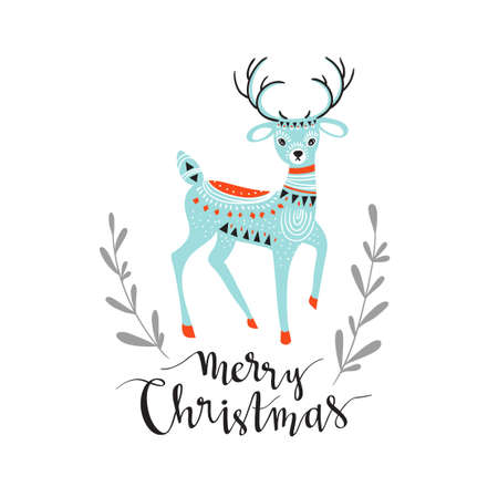 Merry Christmas - winter card with stylish lettering and cute deer. Vector illustration. Greeting card.