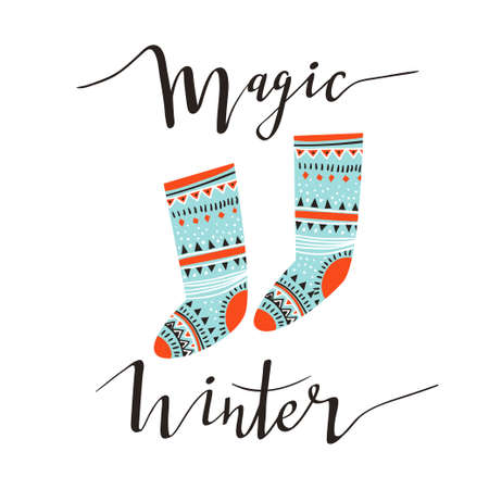 Hand-written Christmas lettering and christmas socks for gifts isolated on white background.  Season vector holiday  design with calligraphy - Magic winter. Imagens - 110667865