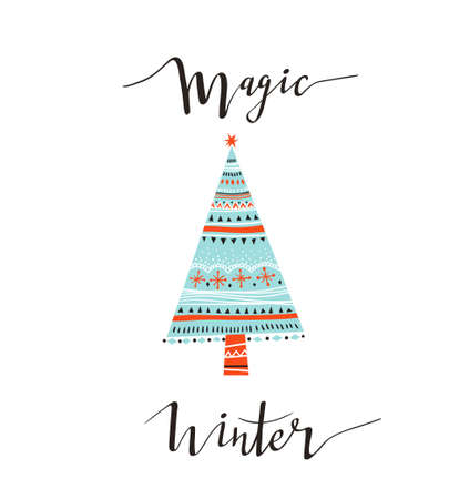 Hand-written Christmas lettering and xmas tree isolated on white background.  Season vector holiday  design with calligraphy - magic winter. Ilustração