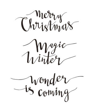 Merry Christmas greeting lettering. Season vector holiday  design of phrases.Vector Handwritten text. Calligraphy collection.
