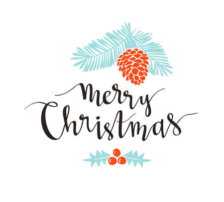 Christmas sprig of pine with holiday lettering - Merry Christmas.  Vector illustration for greeting cards, invitations, and other printing projects.
