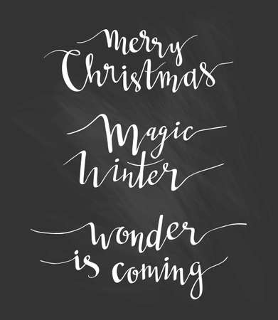 Merry Christmas greeting lettering. Season vector holiday  design of phrases.Vector Handwritten text. Calligraphy collection on the black chalkboard.