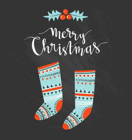 Hand-written Christmas lettering and christmas socks for gifts isolated on white background.  Season vector holiday  design with calligraphy - Merry Christmas. Illustration