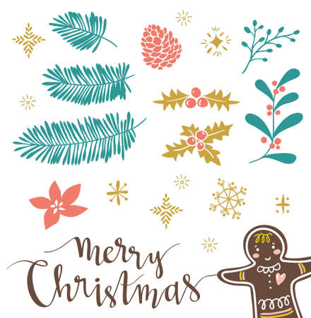 Template for Greeting Scrap booking, Congratulations, Invitations, stickers. Vector illustration with lettering merry christmas and isolated christmas brahches.Gingerbread are hidden under the mask.