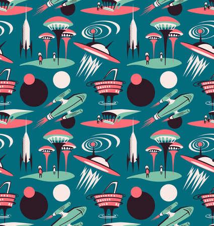 La ciudad espacial del futuro - patrón transparente de vector. Diseño de tejido espacial con cohetes y ciudad moderna.