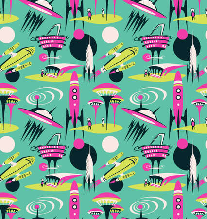 The space city of the future - vector seamless pattern. Space fabric design with rockets and modern city. Ilustração