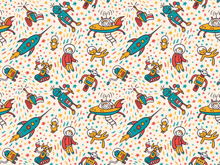 Vector seamless patterns with funny ufo. Colorful seamless background for child fabric design.