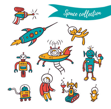 Vector space elements - funny ufo, robots and space rockets . Colorful set isolated on the white background. Ilustracja