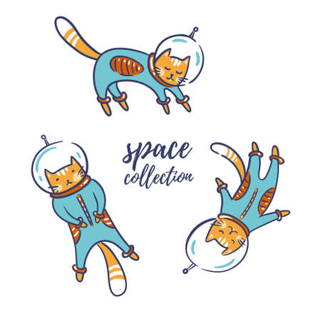 Funny cats astronauts in space isolated on the white background, vector illustration. Cat as a cosmonaut, space suit, funny futuristic design for kids