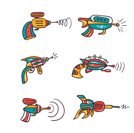 Vector future gun pistol illustration isolated on white background. Set of space blasters. Ilustração
