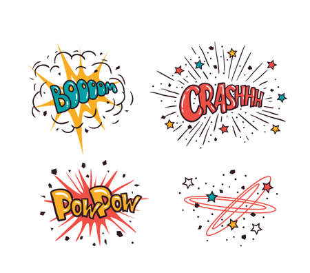 Comic speech bubbles set isolated on the white background, vector illustration. Crash, boom, pow pow - cartoon lettering.