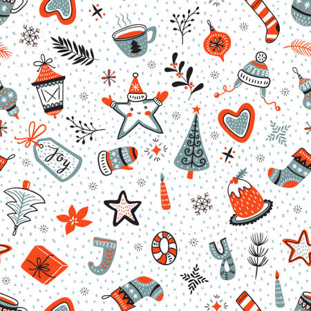 Vector cartoon hand-drawn collection of traditional Christmas set, seamless pattern. New year background. 스톡 콘텐츠 - 112387839