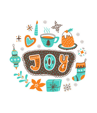 Vector cartoon hand-drawn card with traditional yummy Christmas desserts, cup and toys isolated on white background. Ornamental christmas lettering - JOY Stock Illustratie