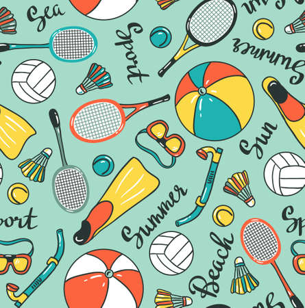 Seamless pattern with sport icons - volleyball, diving, badminton and tennis. Vector fabric design. Ilustração