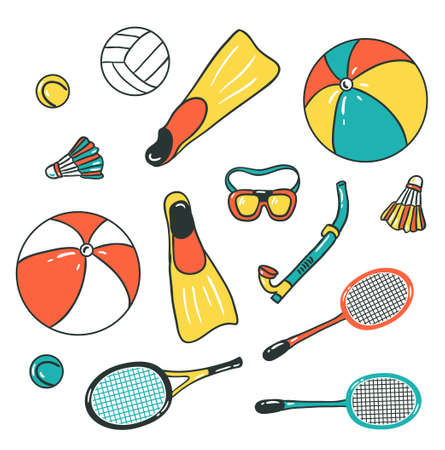 Beach Sport icons - volleyball, diving, badminton and tennis. Vector colorful design. Isolated on the white background.