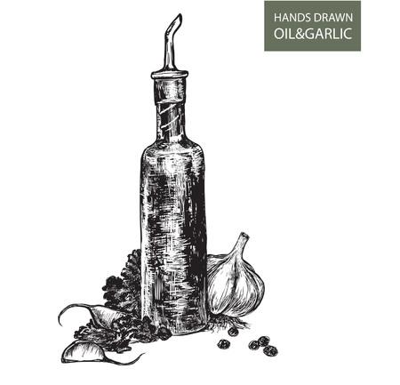 poivre noir: Bouteille avec le chef de l'huile v�g�tale de l'ail et des herbes que l'environnement